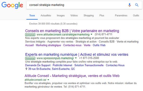 Exemple résultats recherche Google AdWords vs SEO